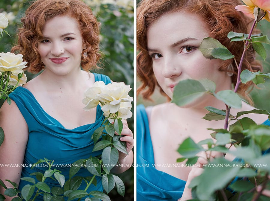Beautiful senior pictures at Portland's Rose Garden - Anna Graf Photography