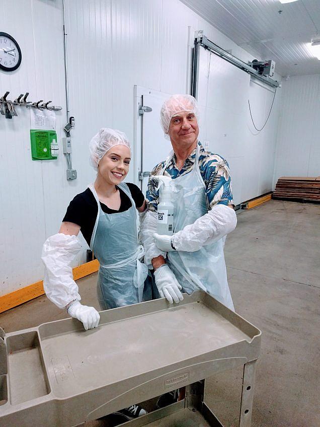 Morgan & her Dad volunteering at Oregon Food Bank - Anna Graf Photography