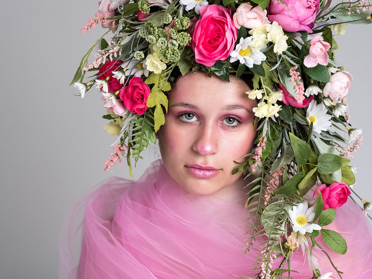 pink floral hair styled shoot Anna Graf Photography